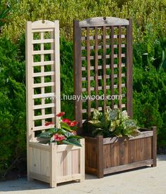 Wooden planter boxes with trellis especially good for climbing plants. Pre-drilled, easy for installation. Made of Chinese fir wood, weather resistant and anti insects. Raised bottom keep planters from wet. Natural finish, burnt finish and stain finish all are availiable.