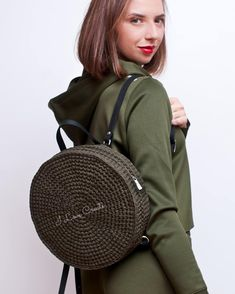 Khaki round backpack T-shirt yarn city rucksack Circle purse Boho backpack Eco friendly vegan backpack – Crochet Bag İdeas. Crochet Handbags, Crochet Purses, Crochet Bags, Crochet Gifts, Easy Crochet, Crochet Backpack Pattern, Crochet Bag Tutorials, Sewing Tutorials, Mode Crochet