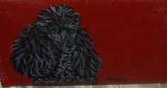 Black Poodle Dog Custom Painted Leather by daniellesoriginals