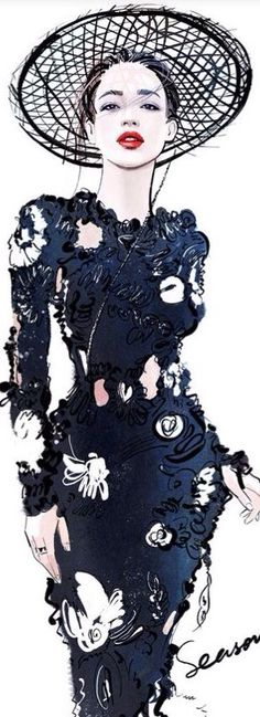 I love the texture in this beautiful fashion illustration.