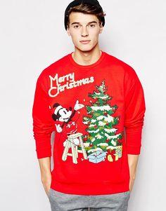 ASOS   ASOS Oversized Sweatshirt With Mickey Mouse Christmas Print at ASOS