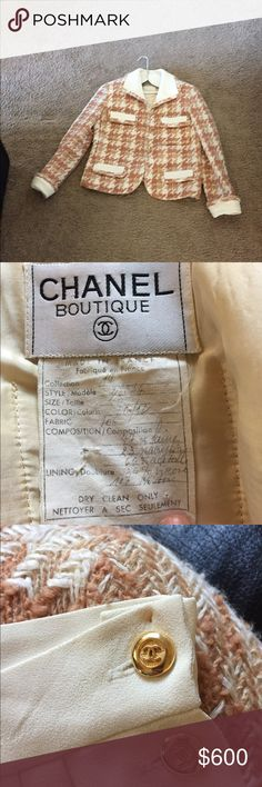 CHANEL Couture suit jacket and silk skirt Hand sewn beautiful condition. Pin holes from dry cleaning in waist band of skirt. This is a French size ten. CHANEL Jackets & Coats Blazers