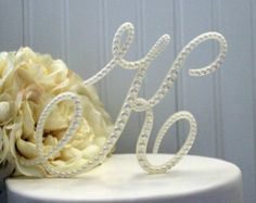 Pearl Monogram Wedding Cake Topper Decorated with Pearls in Any Letter A B C D E F G H I J K L M N O P Q R S T U V W X Y Z