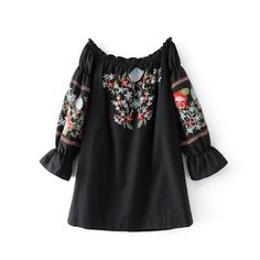 >> Click to Buy << 2017 summer new fashion word shoulder black flower embroidery dress #Affiliate