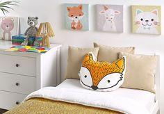 Modelos de Almofadas Infantis para se Inspirar e Decorar Orange, Bed Pillows, Cushions, Motifs Animal, Stick It Out, Decoration, Toy Chest, Toddler Bed, Kids Room