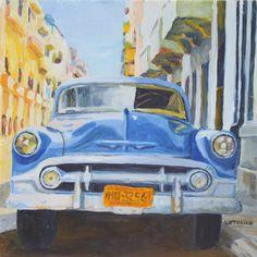 "Cuba: Through the Lens and Brush Show ""Havana Ride""  8x8 inch oil"