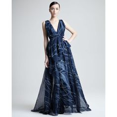 Women's Carolina Herrera Hand-Painted Silk Organza Gown ($7,990) ❤ liked on Polyvore