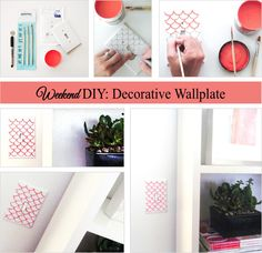Wanting a quick 10-minute update to any room? Use a nickel to paint a fishscale pattern on your wall plates. Click here for step-by-step instructions!