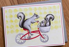 Squirrels on bike card, by Amelie Legault  A6, $5.00
