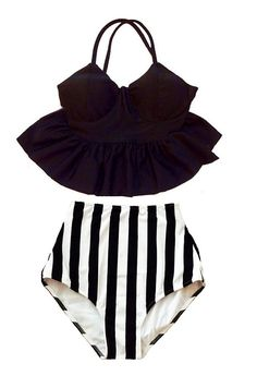 PRODUCT INFORMATION Retro padded top and high-waist bottom swimsuit. Looking for more varieties of this pattern swimsuits, please take a look at :