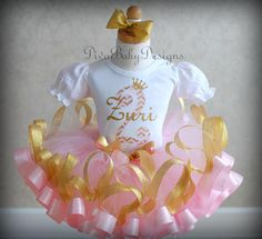 Pink and Gold Girls 2nd Birthday Outfit Ribbon Trimmed tutu