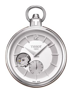 Tissot Pocket 1920 Men's Mechanical Pocket Watch with Silver Dial and Brown Leather Case