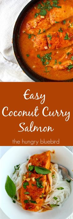 Easy and spicy, coconut curry salmon
