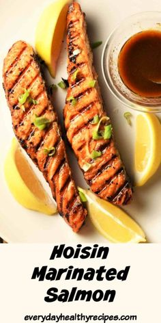 This minimalist marinated salmon recipe is perfect as a quick weeknight dinner or party dish. Coat the salmon in a simple 4-ingredient sweet and tangy marinade, refrigerate overnight or prepare in the morning and cook later. Takes minutes to cook on the grill, perfect to serve with rice and vegetables. #salmonrecipe #grilledsalmon #marinatedsalmon #easysalmon #everydayhealthyrecipes Recipe Using Salmon, Quick Salmon Recipes, Easy Healthy Recipes, Fish Recipes, Summer Recipes, Easy Dinner Recipes, Seafood Recipes, Healthy Meals, Marinated Salmon