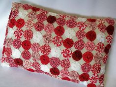 Peppermint Red Cottage YoYo Porch Pillow