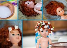 DIY Fixing doll hair.  Curly, straight, and wavy.  Great way to smooth out Disney doll hair or Barbie hair.  This is not made for American girl dolls hair. #dollhairfix #americandollhair