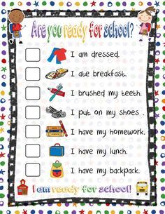 Kids morning schedule or back to school night handout