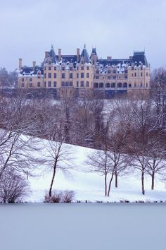 Biltmore House in the snow in Asheville