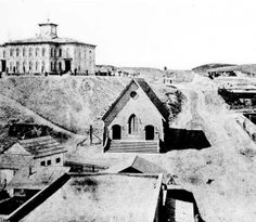 Los Angeles High School atop Poundcake Hill, circa 1874. Courtesy of the Title Insurance and Trust / C.C. Pierce Photography Collection, USC Libraries.