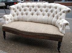 Antique French stripped salon sofa for re-upholstery.