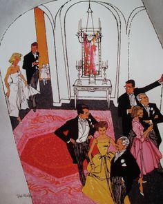 Cocktail Reception, 1957 - Art by Bob Peak/Cosmopolitan Magazine. Art And Illustration, American Illustration, Vintage Illustrations, Comic Kunst, Comic Art, Bob Peak, Commercial Art, Art Inspo, Rock And Roll