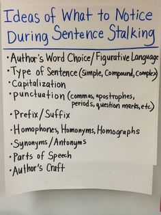 Going deep during sentence stalking when students look at mentor sentences anchor chart