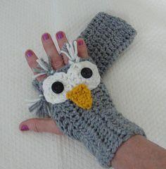 Crochet Fingerless Mittens Owl  pdf Tutorial Pattern