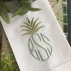 Pineapple Monogram Linen Guest Towel