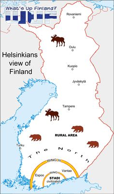 Helsinkians' map of Finland. This is actually very accurate (sorry).