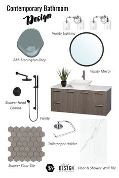 Check out this Modern Concept Board for a little Bathroom Inspiration | Full renovation | or a Space Refresh | Chrome Lighting | Benjamin Moore Popular Paint colours | Templeton Grey | Stonington Grey | Modern Bathroom Vanity | Kitchen & Bath eDesigner | BUY NOW! | Vanities on Sale | Contemporary Floating Vanity | www.sliceofdesign.ca