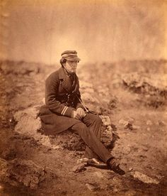 Crimean War Photographs by Roger Fenton, 1855-Commander Maxse, seated on a rock. LC-USZC4-9285