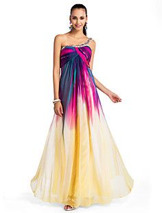 A-line/Princess One-shoulder Floor-length Chiffon Printing E... – USD $ 179.99