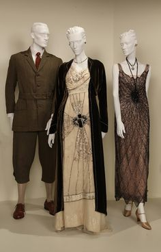 """""""Downton Abbey"""" costumes from the Art of Television Costume Design Exhibit: FIDM Displays TV Costumes. The exhibition features the work of costume designers nominated for the 2012 Primetime Emmys."""