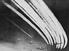 US B-17 Flying Fortresses leaving contrails on a mission over Nazi-occupied Europe.