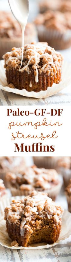 These paleo pumpkin muffins with cinnamon streusel are everything I love about fall baking! Moist, sweetly spiced pumpkin muffins are topped with the perfect streusel plus an optional maple icing! They're a kid favorite and happen to be gluten-free, grain free, and have a tested dairy free option. Paleo Dessert, Dessert Sans Gluten, Gluten Free Sweets, Gluten Free Baking, Healthy Sweets, Dairy Free Recipes, Healthy Baking, Dessert Recipes, Paleo Recipes