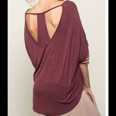 Yoga Time Tee Open back tunic tee top. Wine colored loose top pair with your fav yoga pants cotton poly spandex blend. Free shipping always at www.thetackytulip.com Tops Tunics