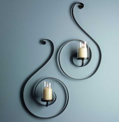 IMAX Forte Sconces - Set of 2 – Modish Store - Contemporary black swirl iron wall sconces with glass candle hurricanes Wrought Iron Decor, Candle Holder Decor, Wall Decor, Room Decor, Iron Furniture, Candle Stand, Candle Wall Sconces, Iron Wall, Porch Decorating