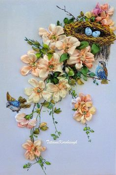 """Ribbon embroidered picture """"Rose hip and birds"""", silk ribbon embroidery, Silk ribbon embroidery, ribbon work, ribbon flowers Learn Embroidery, Embroidery For Beginners, Hand Embroidery Patterns, Embroidery Techniques, Embroidery Stitches, Embroidery Designs, Ribbon Art, Ribbon Crafts, Red Ribbon"""