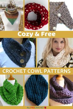 This page has 18 Cozy & Free Crochet Cowl Patterns that are so beautiful, you'll want to make all of them! #crochetaddict