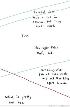 Parallel lines have a lot in common but they ever meet