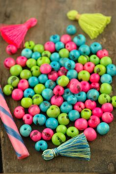 Spring Fling Acai Beads Mix: Real, Natural South American Eco- Friendly, 10mm, 100 beads, Bright Pink, Green, Aqua, Jewelry Making Supply