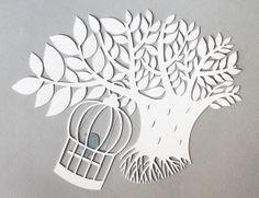 giochi di carta: papercut with bird cage
