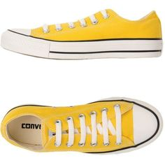 Converse All Star Sneakers (72.300 CLP) ❤ liked on Polyvore featuring shoes, sneakers, yellow, round toe sneakers, yellow shoes, round toe shoes, animal shoes and flat sneakers