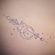 artemis / moon / arrow tattoo