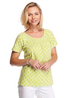 5b72ffaa2ecc5 Kim Rogers® Short Sleeve Peasant Allie Geo Knit Top Geo
