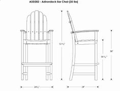 Polywood Adirondack Bar Height Chair White Patio Dining Chairs Garden Outdoor