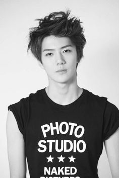 Sehun #exo (what kind of t-shirt is that ?! uahaha)I love that shirt sehun