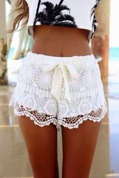 Wish I can wear this! Its so beautiful. White Summer Lace Shorts. #delicate #short #lace