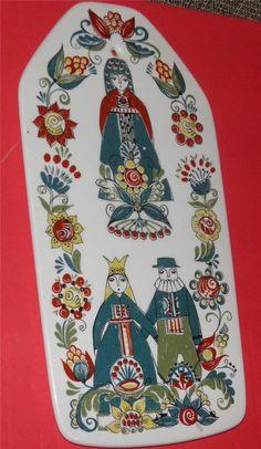 Vintage FIGGJO FLINT Norway Large Plaque Plate SAGA Series Norwegian Folk Art. $65.00, via Etsy.