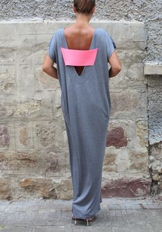 Backless Caftan Grey Oversized Dress by cherryblossomsdress